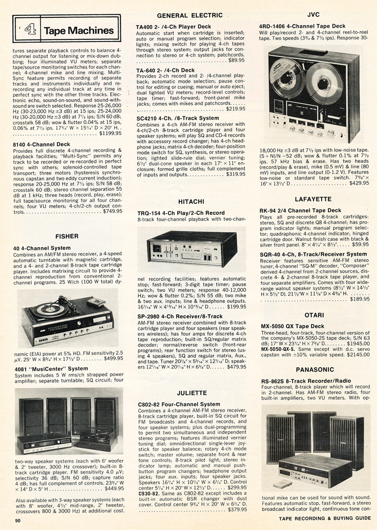 1975 Stereo Review Tape Recorder Issue listing available reel to reel tape recorders in Reel2ReelTexas.com's vintage recording collection