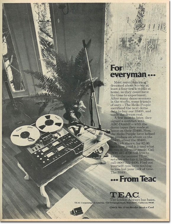 picture of 1975 Teac Series 70 tape recorder ad