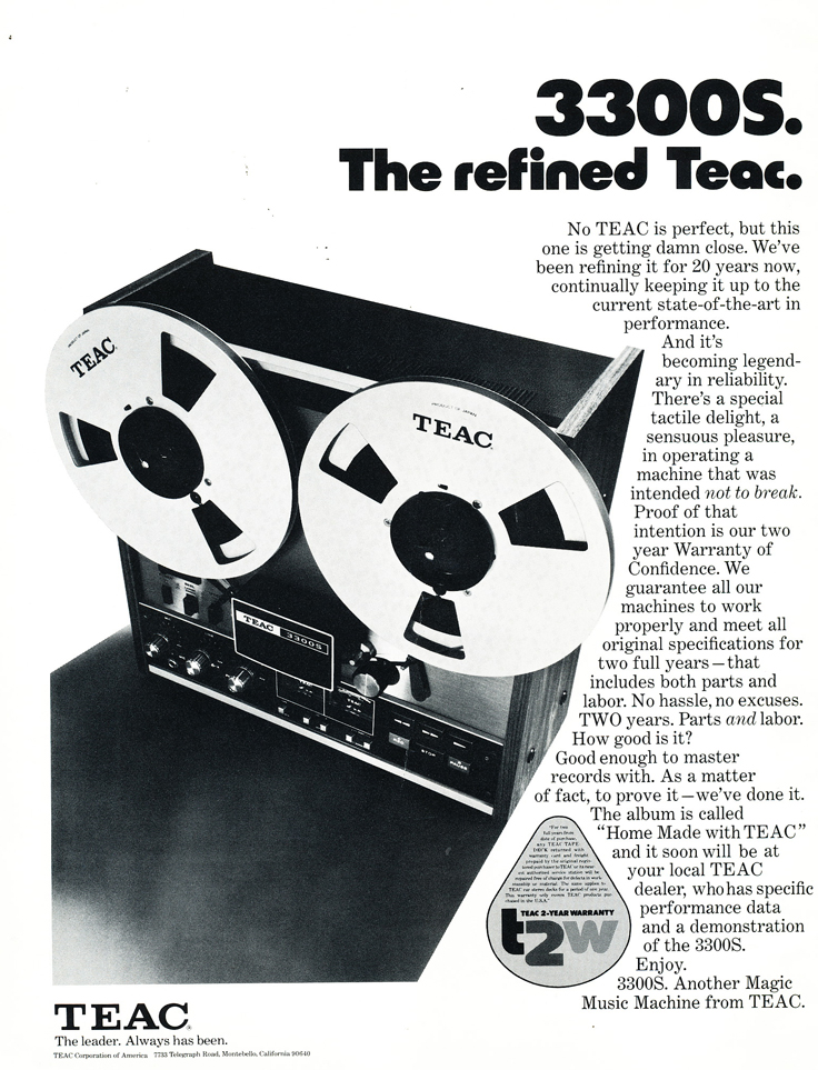 1975 ad for the Teac A-3300S reel to reel tape recorders in Reel2ReelTexas.com's vintage recording collection