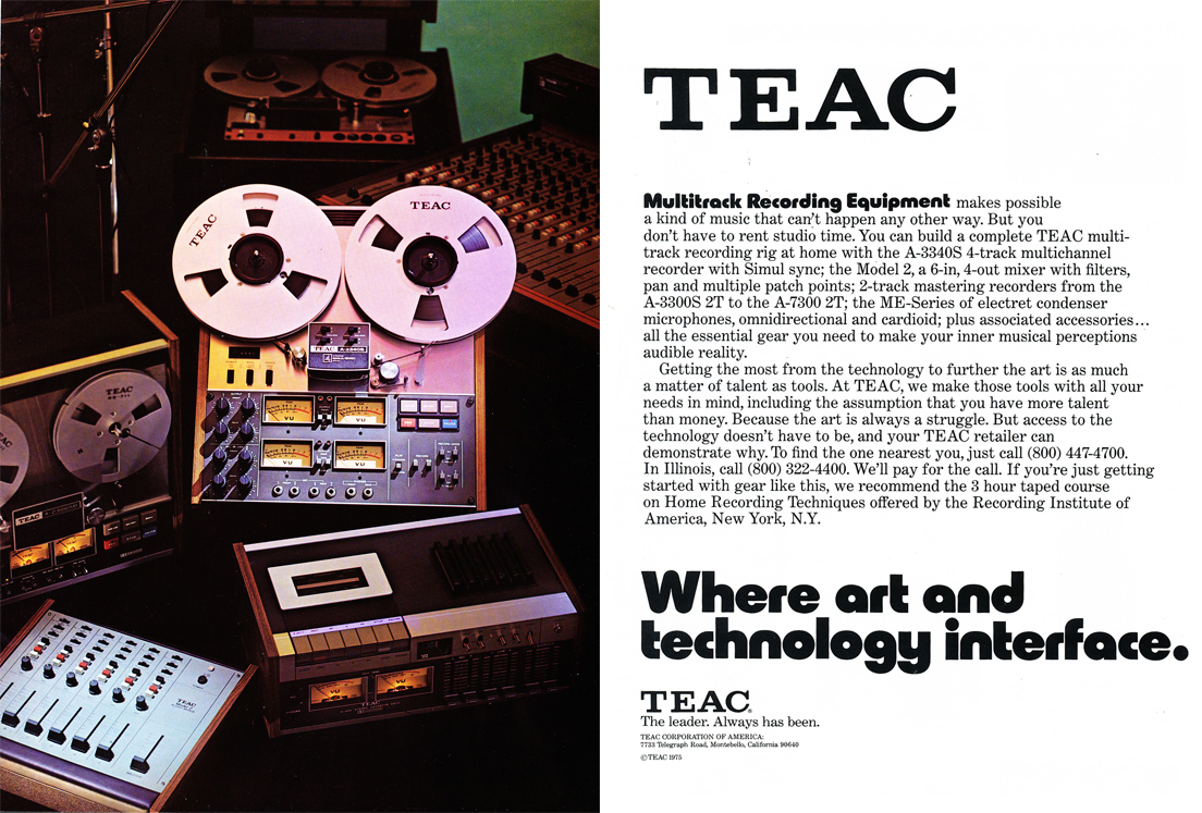 1975 ad for the Teac A-3340, A-2300 and the Model 2 mixer  in Reel2ReelTexas.com's vintage recording collection