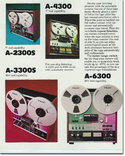 Teac A-6300 brochure pages from 1975