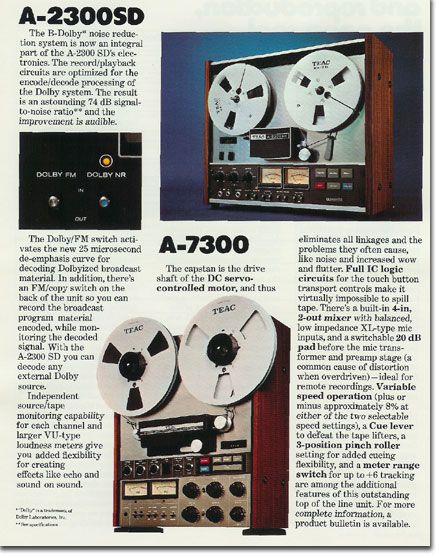Teac A-7300 brochure pages from 1975