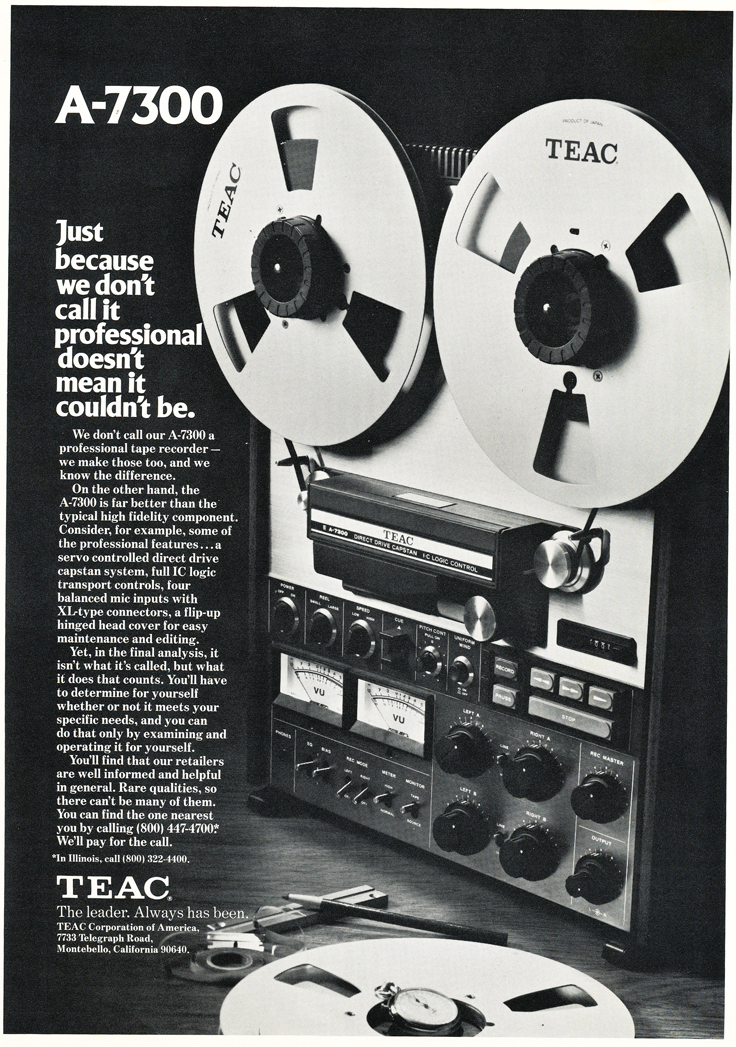 1975 ad for the Teac A-7300 reel to reel tape recorders in Reel2ReelTexas.com's vintage recording collection