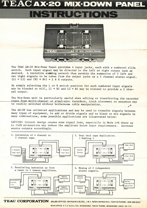 Teac AX-20 mix down panel instructions in Phantom Productions' vintage tape recording collection