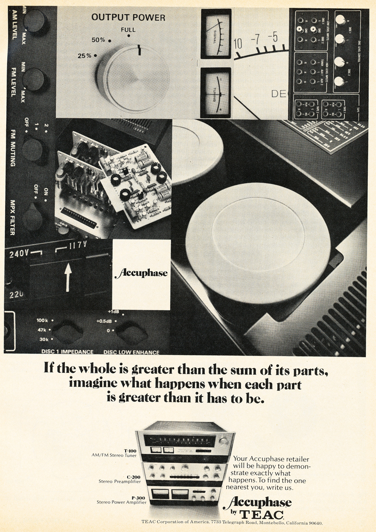 1975 ad featuring Tec's Accuphase line of audio products in Reel2ReelTexas.com's vintage recording collection