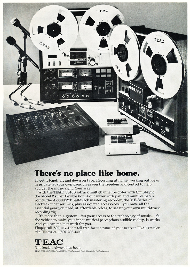1975 ad for the Teac A-3300S 2Track, the Teac A-3340 4 track reel to reel tape recorders and the Model 2 mixer in Reel2ReelTexas.com's vintage recording collection