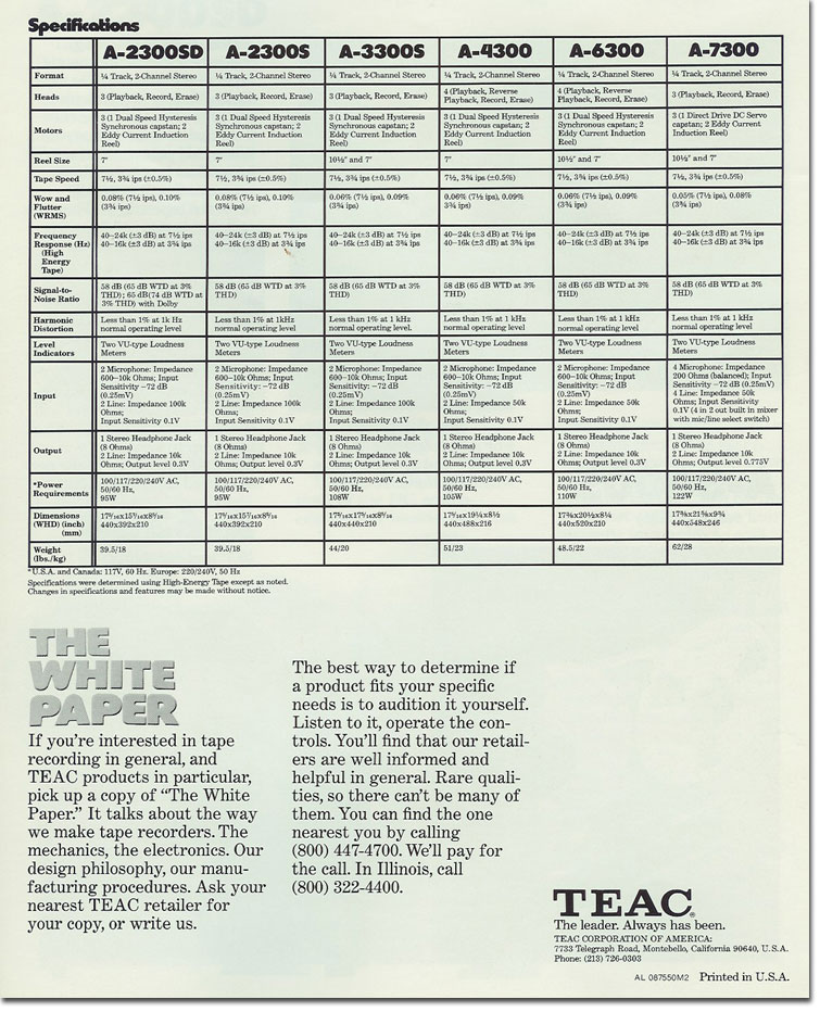 Teac recorder specs for 1975