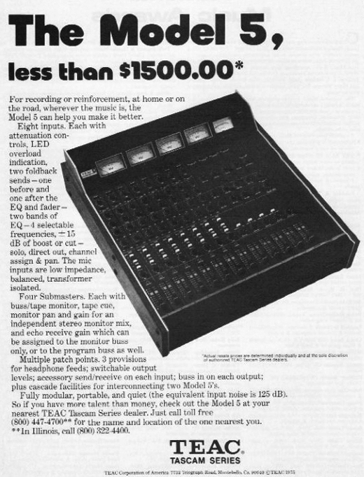 1975 ad for the Teac Tascam Model 5 mixer in Reel2ReelTexas.com's vintage recording collection