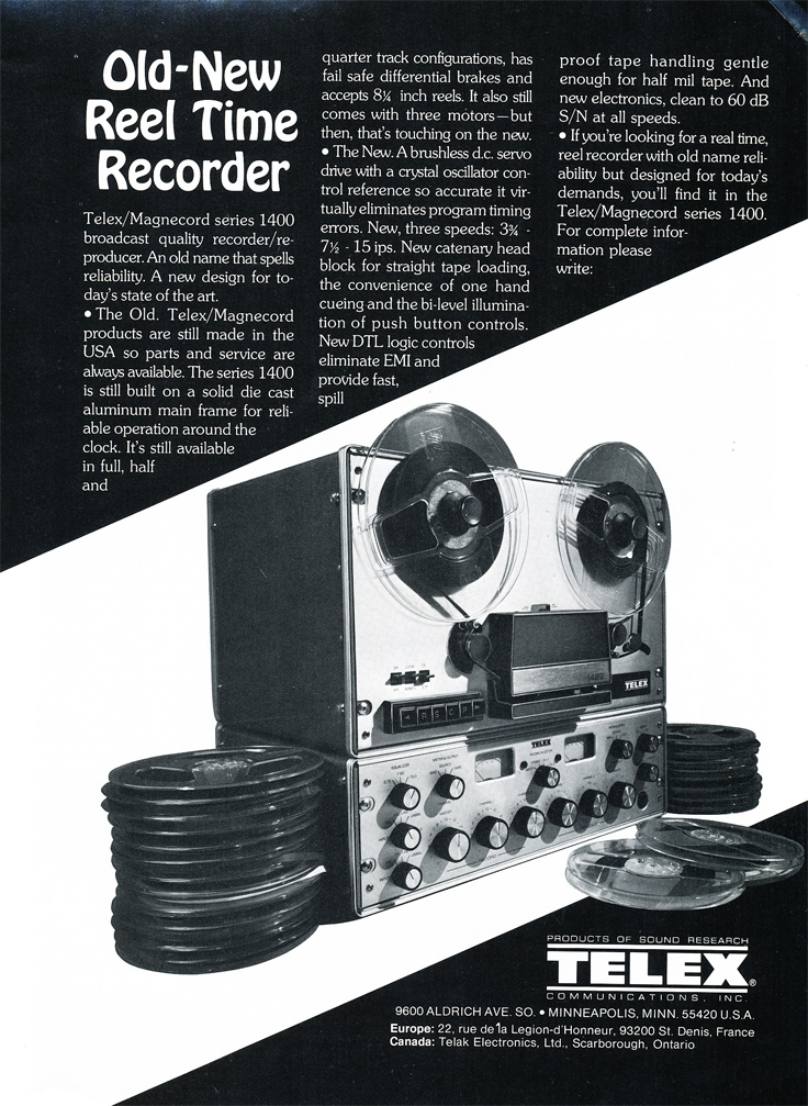 1975 ad for the Telex Magnecord 1400 professional recorder in Reel2ReelTexas' vintage recording collection