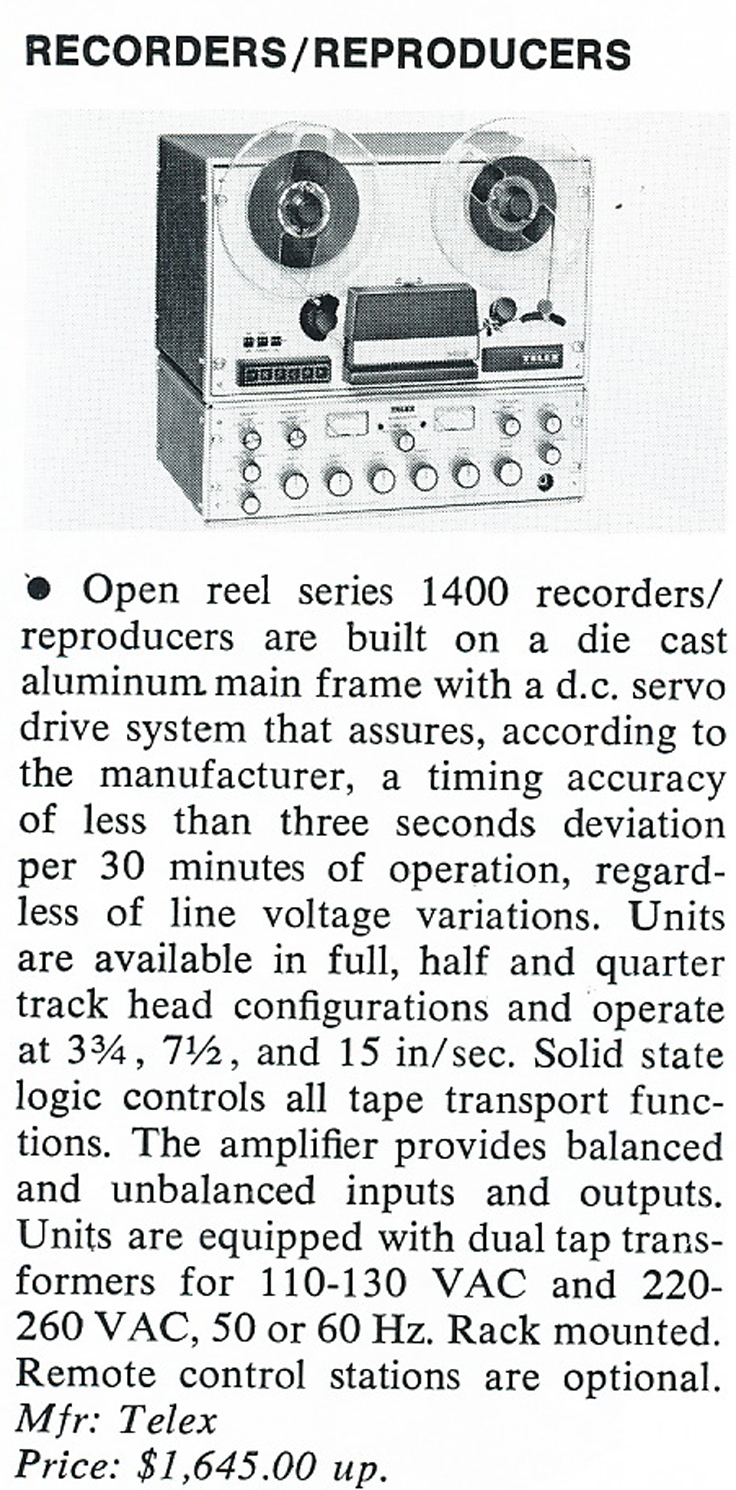 1975 review of the Telex Magnecord 1400 professional recorder in Reel2ReelTexas' vintage recording collection