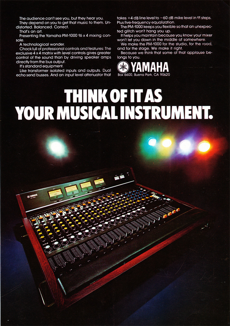 1975 ad for Yamaha production concoles in Reel2ReelTexas' vintage recording collection