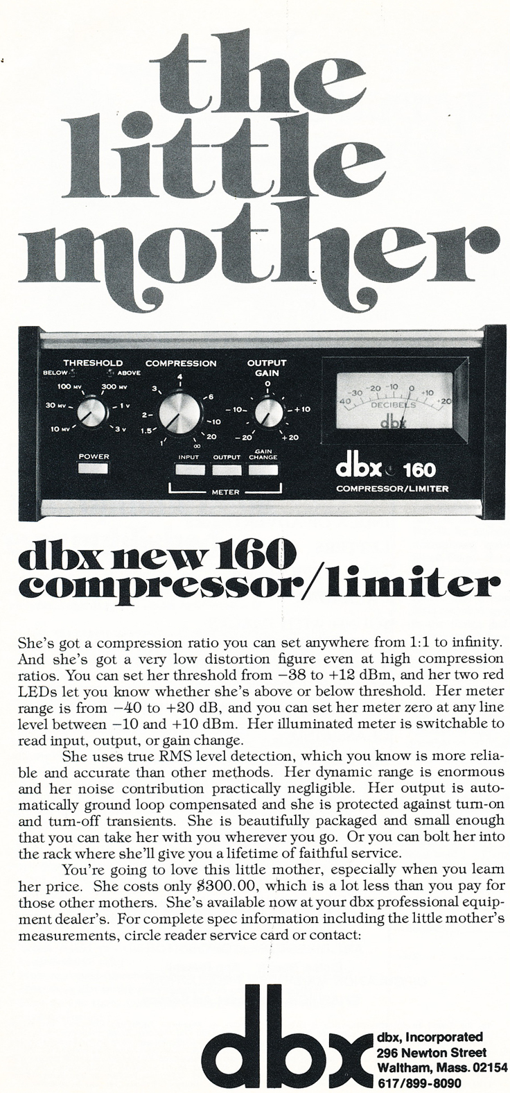 1975 ad for the dbx160 in Reel2ReelTexas.com's vintage recording collection