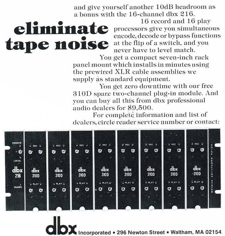 1975 ad for the dbx 216in Reel2ReelTexas.com's vintage recording collection