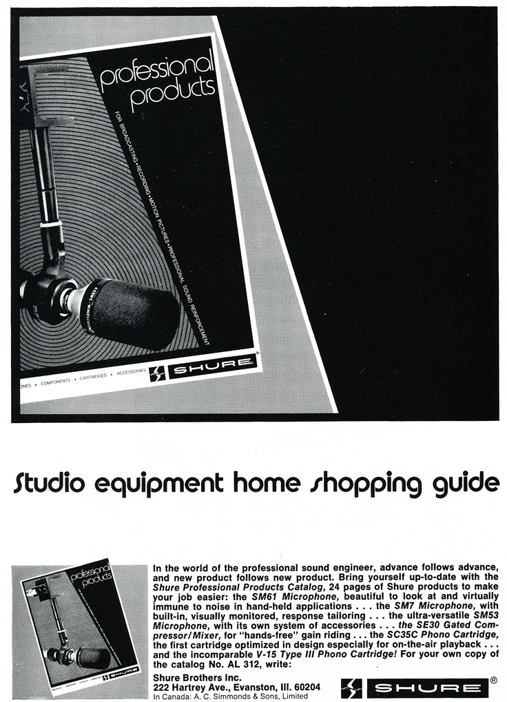 1975 ad for the Shure SM61 microphone in Reel2ReelTexas.com's vintage recording collection