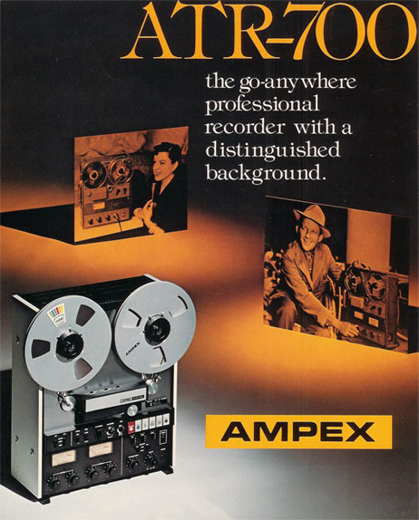 Teac built this ATR-700 for Ampex and relesed it under their own Teac brand as the A-7300 2 track mastering tape recorder reel to reel tape recorderin the Phantom Productions, Inc.'s Reel2ReelTexas.com