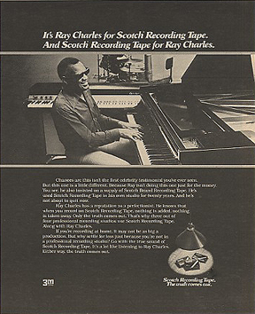 Ray Charles in 3M recording tape ad in Phantom Productions' vintage tape recording collection