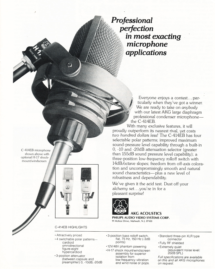 1977 ad for AKG professional microphones in Reel2ReelTexas.com's vintage recording collection