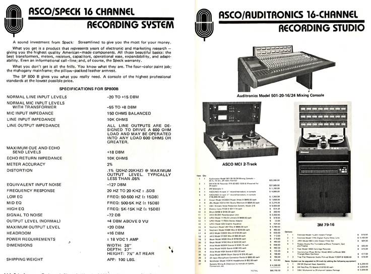 1977 ad for 16 track recording studio  for sale from Accurate Sound company's catalog in Reel2ReelTexas.com's vintage reel tape recorder collection