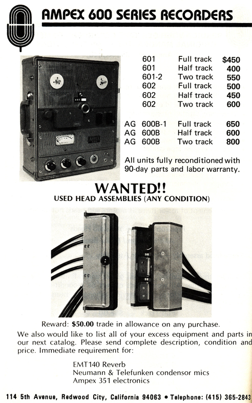 1977 ad for Ampex 600 in Phantom Productions' reel tape recorder collection