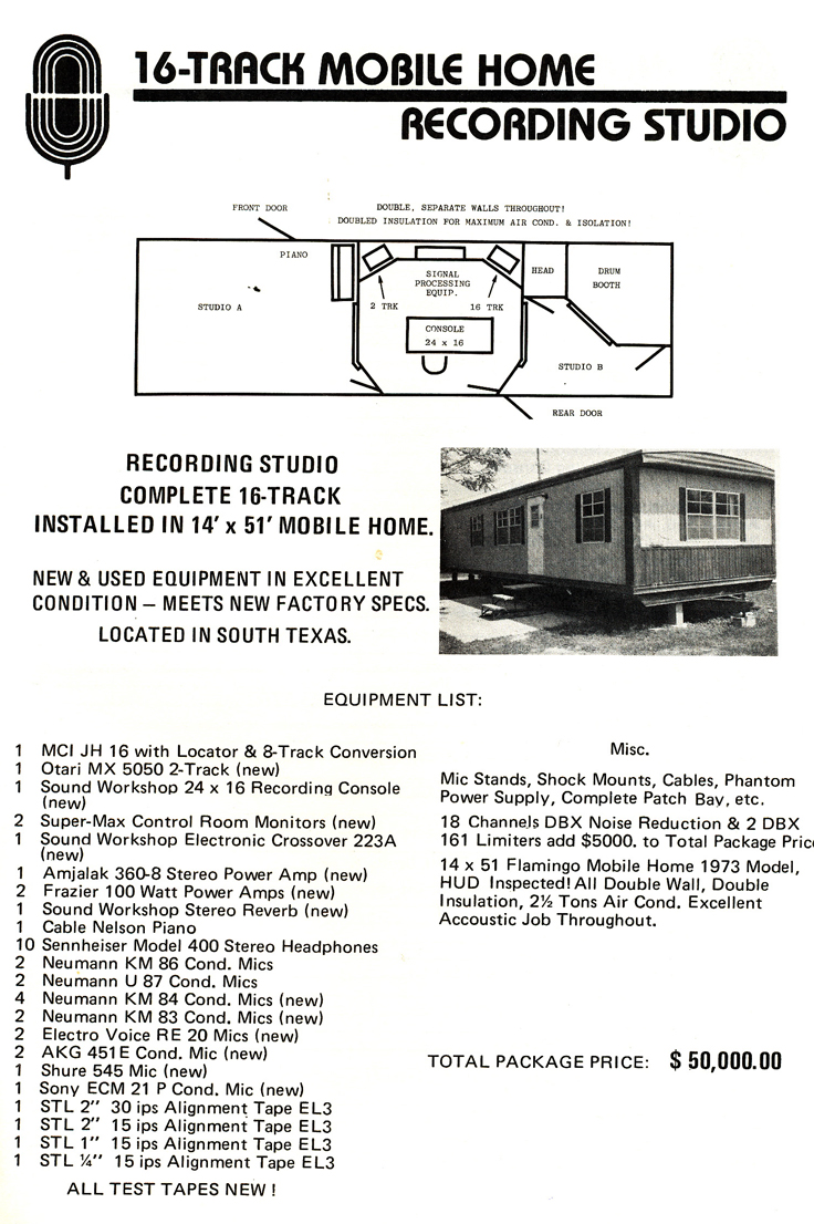 1977 ad for Mobile Home recording studio for sale from Accurate Sound company's catalog in Reel2ReelTexas.com's vintage reel tape recorder collection