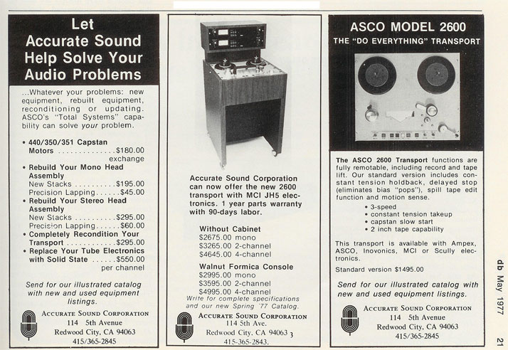 Phantom's 1977 ad for Accurate Sound Company
