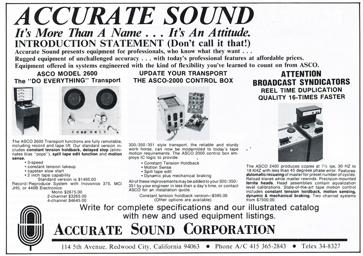 1977 ad for Accurate Sound Company in Reel2ReelTexas.com's vintage recording collection