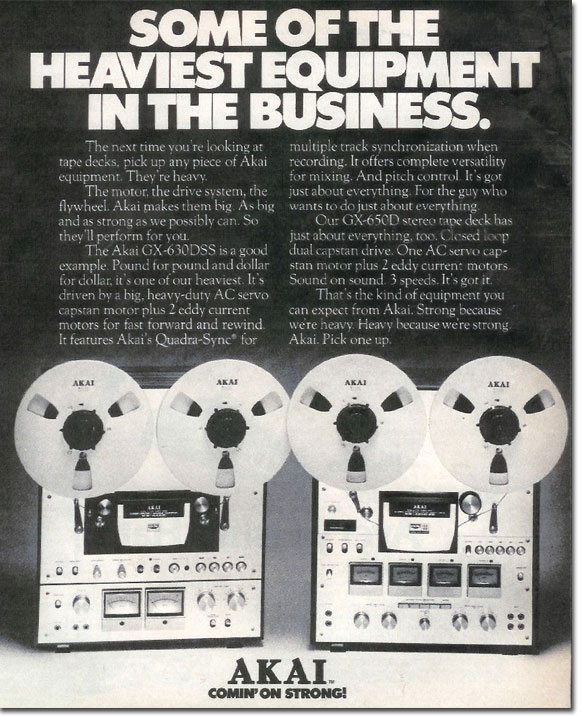 1977 Akai ad for their reel to reel tape recorders in Reel2ReelTexas.com's vintage recording collection