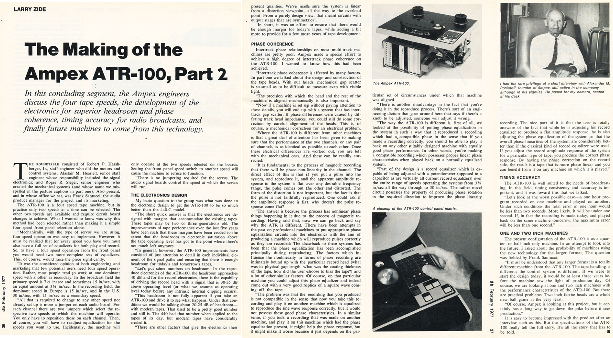 1977 review of the making of the Ampex ATR-100 in Reel2ReelTexas.com's vintage recording collection
