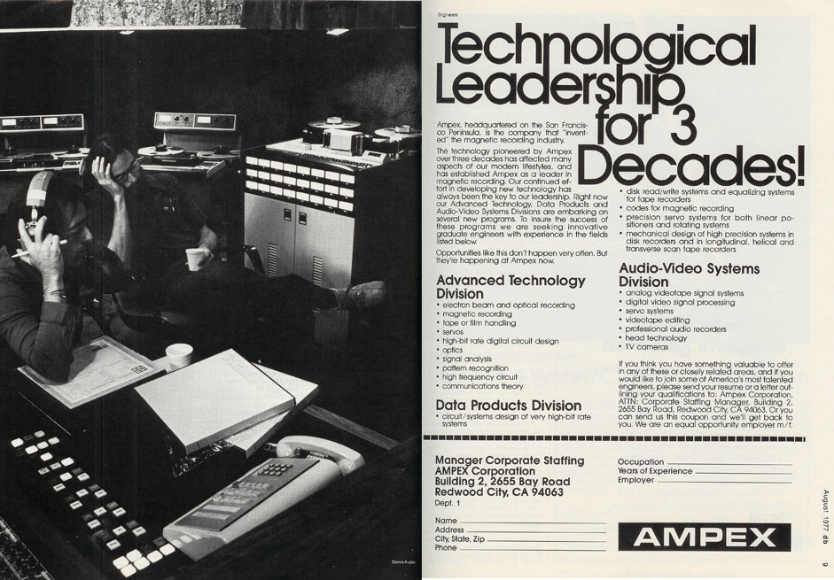 1977 ad by Ampex to recruit top employees in Reel2ReelTexas.com's vintage recording collection