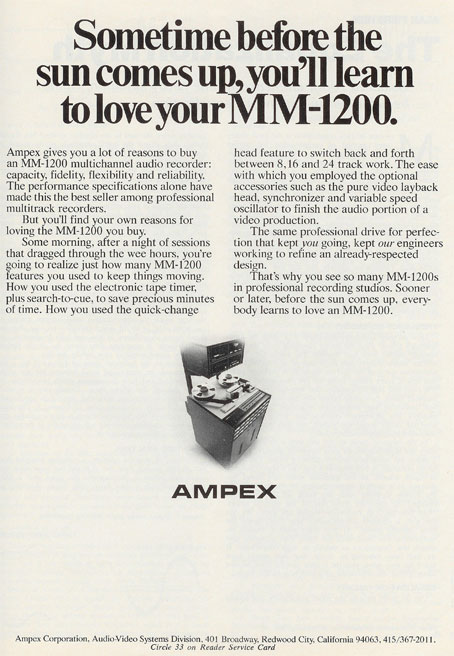 picture of 1977Ampex reel tape recorder ad in Phantom's vintage collection