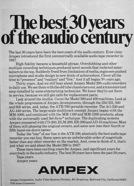1977 ad celebrating Ampex's 30 years in the audio business in   Phantom Productions' vintage recording colection