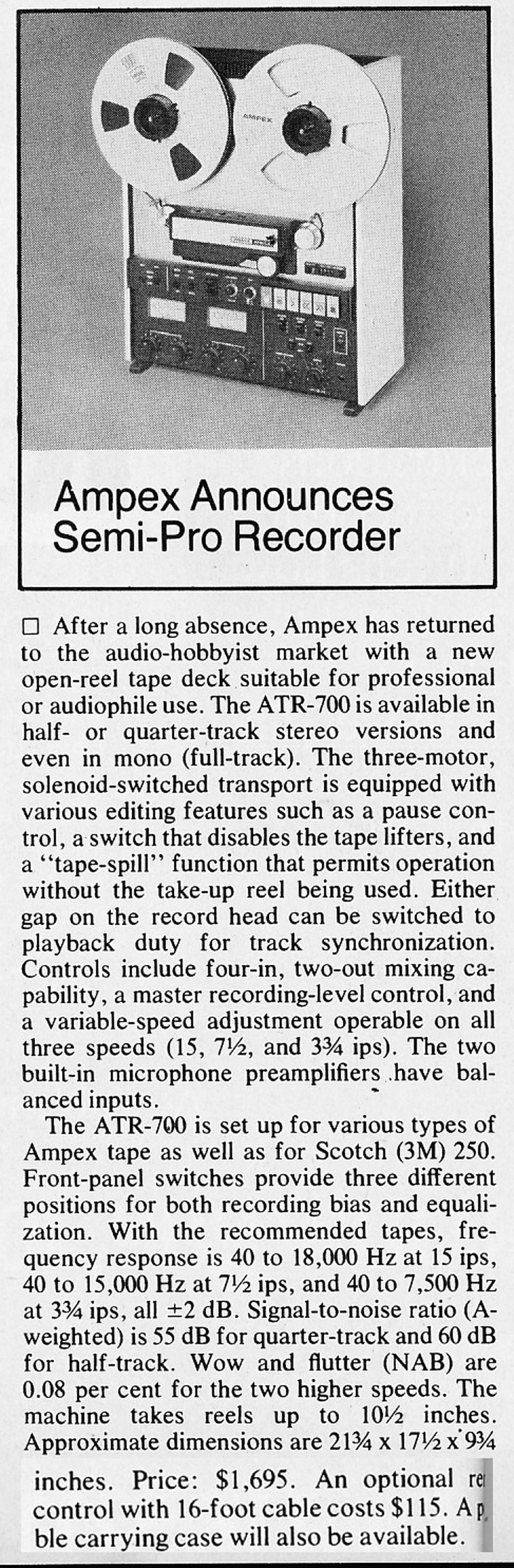 1977 review of the Ampex ATR-700 professional reel to reel tape recorder in   Reel2ReelTexas.com's vintage recording collection