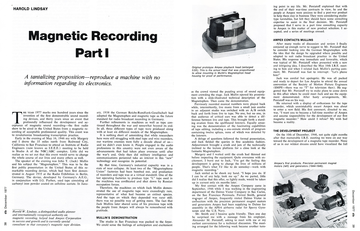 1977 article by Harold Lindsay about the beginnings of Ampex in the December 1977 db magazine in Reel2ReelTexas.com's vintage recording collection