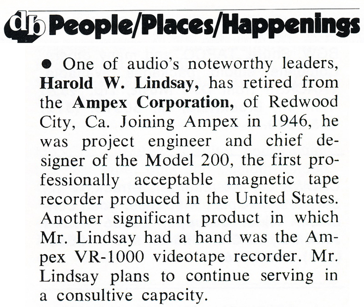 1977 notice in the db magazine that Harold Lindsay one of Ampex's founders was retiring