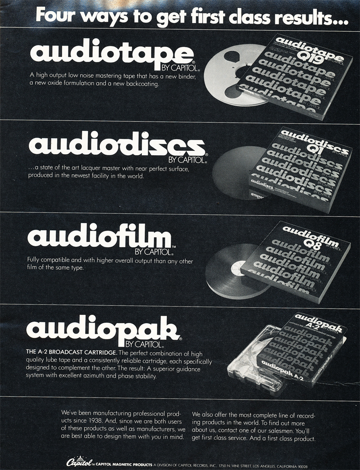 1977 ad for Capitol Records Audiotape products in Reel2ReelTexas.com's vintage recording collection