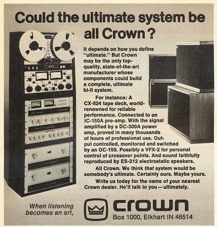 1977 ad for Crown's ultimate system  in Reel2ReelTexas.com's vintage recording collection