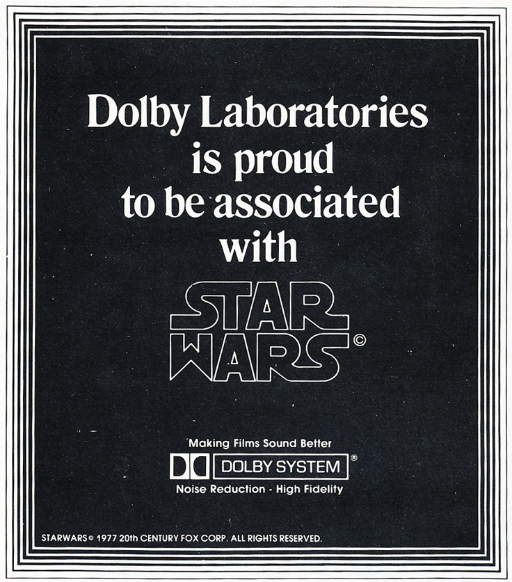 1977 ad for Dolby Noise Reduction featuring its use in the making of Star Wars in Reel2ReelTexas.com's vintage recording collection