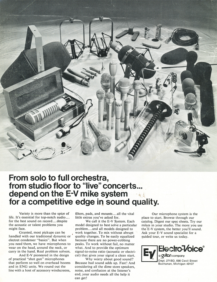 1977 ad for Electro Voice's professional line of microphones in the Reel2ReelTexas.com's vintage recording collection