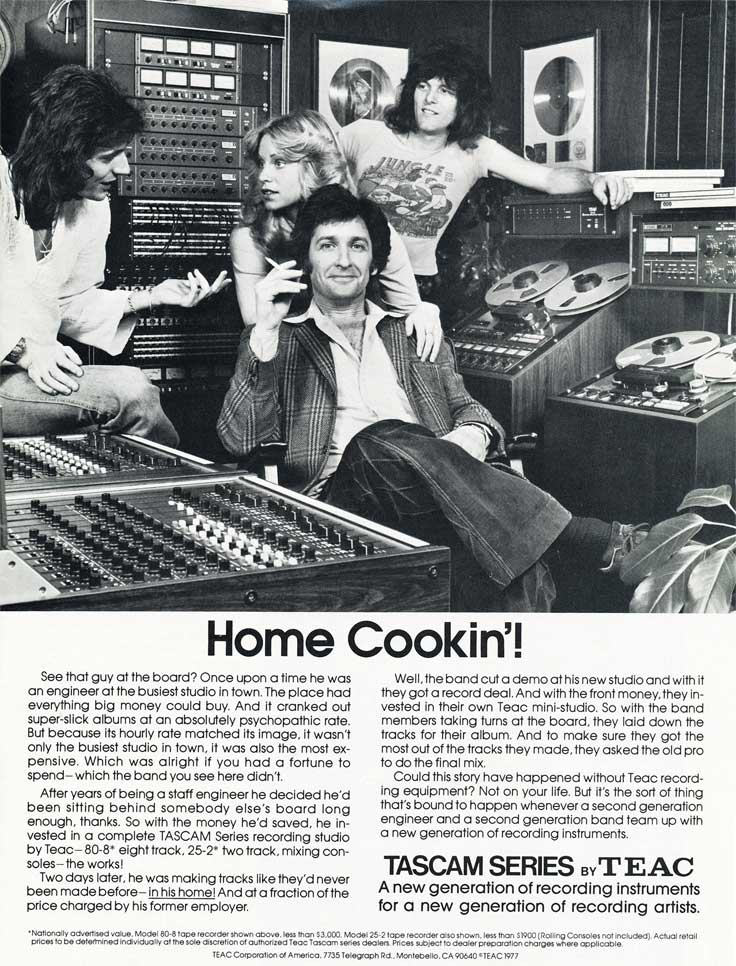 1977 Teac ad for their equipment in home studios in Reel2ReelTexas.com's vintage recording collection