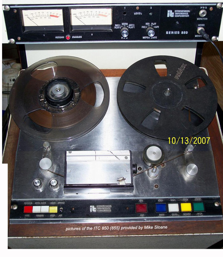 photos and specifications of the 1977 ITC Tapesonic 855 provided to Phantom Productions by Mike Sloan