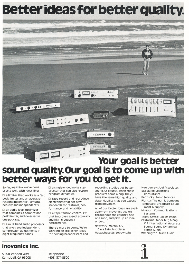 1977 ad for Inovonics Electronics in Reel2ReelTexas.com's vintage recording collection