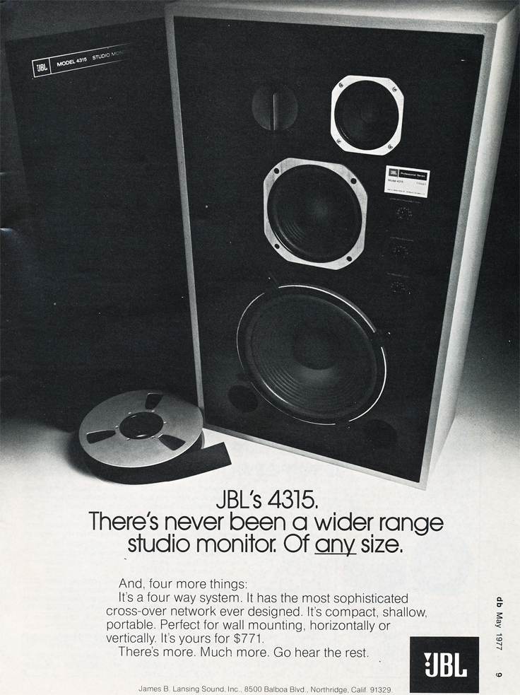 1977 ad for JBL studio speakers in Reel2ReelTexas.com's vintage recording collection