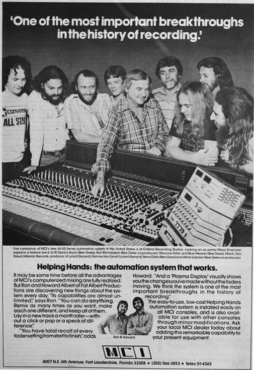 1977 ad for MCI professional audio products in Reel2ReelTexas.com's vintage recording collection