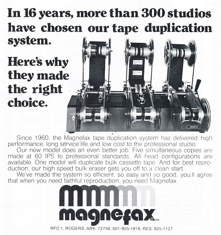 1977 Ad for MAgnefax in Reel2ReelTexas.com's vintage recording collection