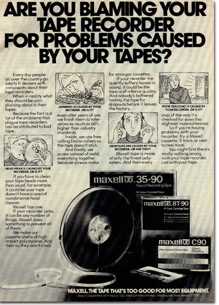 picture of Maxell ad from 1977