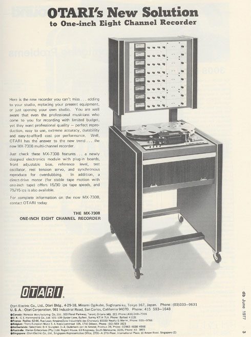 1977 ad for the Otari MX7308 professional reel to reel tape recorder in Reel2ReelTexas' vintage tape recorder collection