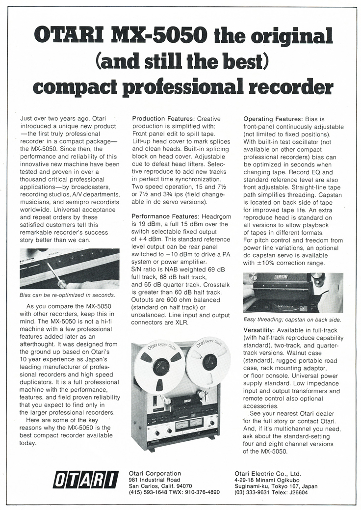1977 ad for the Otari MX-5050 professional reel to reel tape recorder in Reel2ReelTexas' vintage tape recorder collection