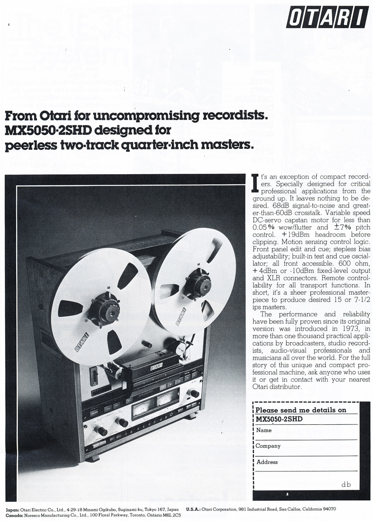 1977 ad for the Otari MX-5050 2SDHD professional reel to reel tape recorder in Reel2ReelTexas' vintage tape recorder collection