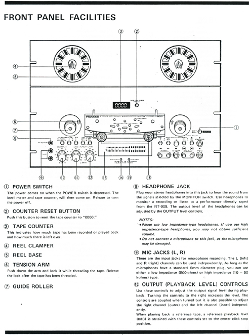 1977 manual pages for the Pioneer RT-909 reel tape recorder in Reel2ReelTexas.com vintage tape recorder collection