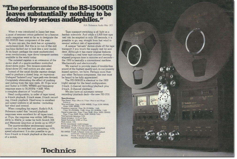 1977 Technics RS-1500 ad in the Phantom productions' vintage recording collection